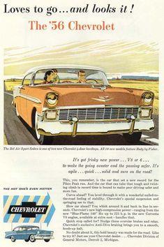Vintage Ads : 1956 Chevrolet ad Vintage Advertising Campaign 1956 Chevrolet ad Advertisement Description 1956 Chevrolet ad Sharing is love ! Vintage Advertisements, Vintage Ads, Vintage Stuff, Vintage Posters, E Motor, Car Brochure, Chevrolet Bel Air, Classic Chevrolet, Ex Machina