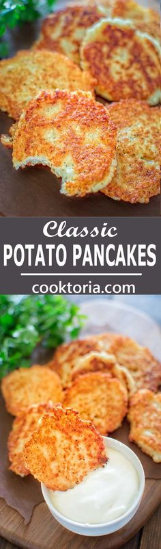 simple, yet unbelievably tasty, these Classic Potato Pancakes are not to be missed!COMSo simple, yet unbelievably tasty, these Classic Potato Pancakes are not to be missed! Side Dish Recipes, Vegetable Recipes, Vegetarian Recipes, Cooking Recipes, Healthy Recipes, Vegetarian Pancakes, Vegetarian Breakfast, Entree Recipes, Healthy Snacks