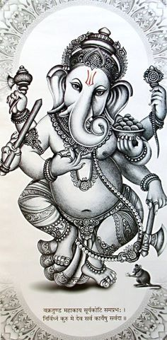 """Ganesh-Ganesha is worshipped as the lord of wisdom and success, beginnings and as the lord of defender and remover of obstacles, patron of arts and sciences. Ganesha is the lord with Elephant head. Ganesha elephant head has only one full tusk ,while other is broken. He said to have broke it to write The Mahabharat to the dictation of sage """"Vyasa""""."""