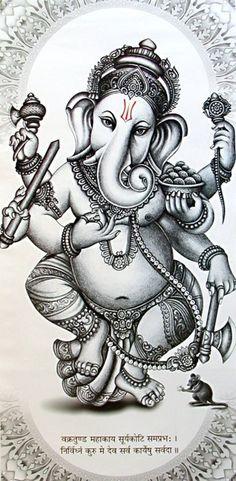 """Ganesh-Ganesha es adorado como el señor de la sabiduría y el éxito, inicios y como el señor de la defensa y removedor de obstáculos, patrona de las artes y las ciencias. Ganesha es el señor con cabeza de elefante. Cabeza de elefante Ganesha tiene un solo colmillo completo, mientras que otro es roto. Él dice que lo partió para escribir El Mahabharata al dictado del sabio """"Vyasa""""."""