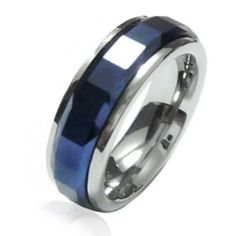 Mens Polished Cobalt Blue Plated Tungsten Spinner Ring ( Also called prayer rings, worry rings ) Bling Jewelry, Wedding Jewelry, Men's Jewelry, Jewlery, Thin Blue Line Ring, Butterfly Ring, Cubic Zirconia Rings, Band Rings, Rings For Men