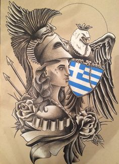 Greece, Greek Pride, tattoo, athena, goddess athena, Greek goddess, Falcon, tattoo, art