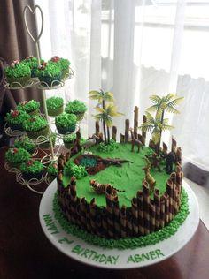 Birthday Cake Kids Boys, Dinosaur Birthday Cakes, 4th Birthday Cakes, Safari Birthday Party, Animal Birthday, Dinosaur Cake Easy, Dinosaur Head, Dinosaur Cookies, Birthday Ideas