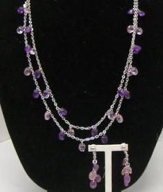 SARAH COVENTRY SIGNED VINTAGE SET NECKLACE & EARRINGS PURPLE STONES SILVER TONE #SarahCoventry