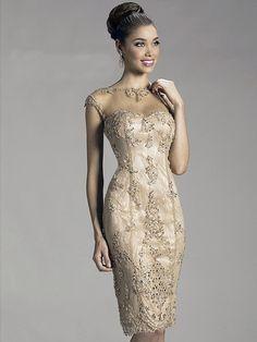 Outro Justo/Coluna Decote e costas em U Sem Mangas Missangas Comprimento do Joelho Tafetá Vestidos Mãe da Noiva for 819,54€