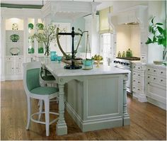 Painted island-I love green accents