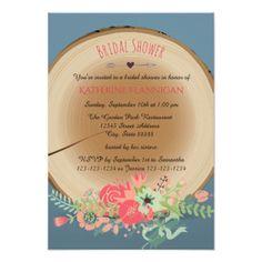 #bridal - #Rustic Wood Bouquet - 3x5 Bridal Shower Invitation