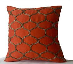 "Decorative Pillow Cover in Sashiko Pattern- Orange Art Silk Square Pillowcase- Sequin Throw Pillow- Modern Pillow Cover - Wedding Anniversary Gift (14"" x 14"") Amore Beaute http://www.amazon.com/dp/B00UBL1N54/ref=cm_sw_r_pi_dp_MfBovb052V0ZC"