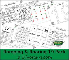Free Romping & Roaring Number 19 - 39 pages of printables with coloring, playdough mats, tracing, counting, counting books, puzzles and more - 3Dinosaurs.com