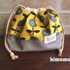 北欧風◆ボタンみたいなお花の弁当袋★入園入学に  黄色