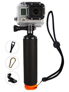 ProFloat Waterproof Floating Hand Grip compatible with all GoPro Cameras Hero 4 Session Black Silver Hero 2 3 3+ 4. Handler & Handle Mount Accessories Kit & Water Sport Pole for Action Camera (Orange)