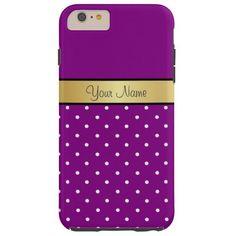 Gold Monogram On Violet Purple & White Polka Dots Tough iPhone 6 Plus Case