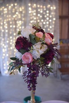 Vintage, merlot, wine, blush, ivory, plum and gold gorgeousness! Rustic, elegant centerpiece. #wishingwellbarn.com
