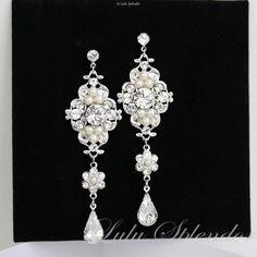 Chandelier Earrings, Long Bridal Earrings with Swarovski Ivory Pearl and Rhinestone, Vintage Wedding Jewelry LEILA Grand. $69.00, via Etsy.