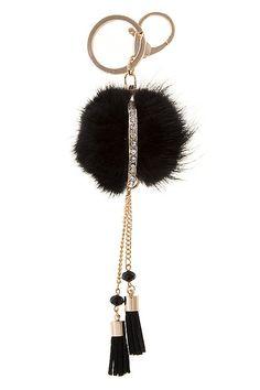 f385941b97ff Rabbit Fur Pom pom Key Chain fluff ball keychain by Scarlettaa
