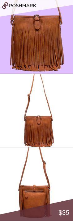 Tan Fringe Crossbody Faux Leather, Zip top closure Gold-tone hardware Adjustable shoulder strap L 9 * H 9.5 * W 5 Bags Crossbody Bags