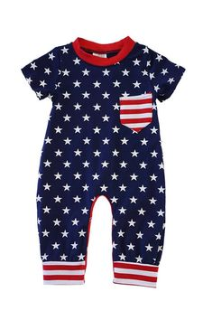 American Flag Print Baby Romper Baby Prints, Cotton Spandex, American Flag, Rompers, Kids, Child, Style, Products, Fashion