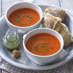 This much-loved classic is the perfect thing to make with an abundance of ripe tomatoes. You can also add the green stalks to cook with the vegetables for an intense tomato flavour but remember to remove them before blending