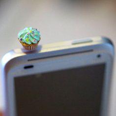 Kawaii GREEN CUPCAKE Iphone Earphone by fingerfooddelight on Etsy, $8.50
