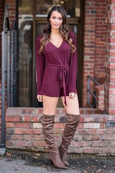 Really Quite Lovely Long Sleeve Cinched Waist Romper (Wine) - NanaMacs.com - 1