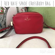 Red Kate Spade crossbody bag! - 100% authentic Kate Spade crossbody bag. In like-new condition, no stains or tears. No wear at all. Super cute bag and perfect for the upcoming seasons.  - No trades.  - I consider reasonable offers.  - I ship everyday!  - Thanks for checking out my closet! kate spade Bags Crossbody Bags