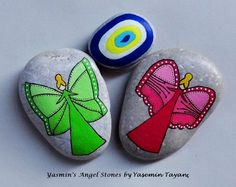 Hand Painted Stone – Two angels & an evil eye