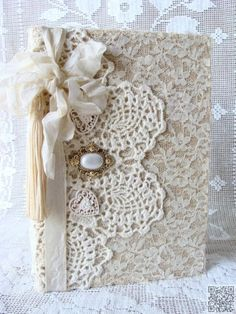 34. #Cover Your Precious #Journal - You'll Be Charmed when You See What You Can Make with #Doilies ... → DIY #Staple