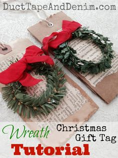 Wreath Christmas gift tag tutorial | DuctTapeAndDenim.com