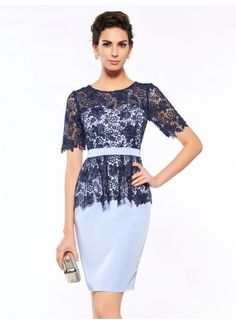 Sheath Lace Short Sleeve Scoop Italy Satin Mother of the Bride Dress