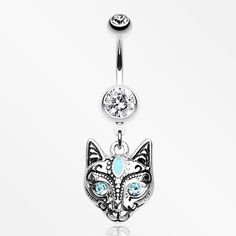 Mystique Kitty Cat Sparkle Belly Button Ring-Clear