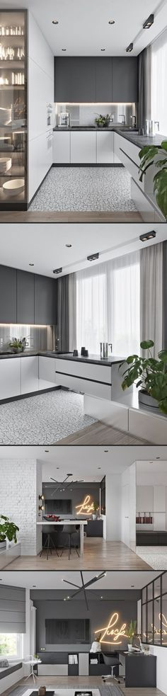 26 Trendy Kitchen Lighting Ideas Cabinet Window 26 Trendy Kitchen Lighting Ideas Cabinet Window This image. Kitchen Room Design, Modern Kitchen Design, Interior Design Living Room, Kitchen Decor, Interior Door, Interior Modern, Kitchen Ideas, Kitchen Window Blinds, Appartement Design