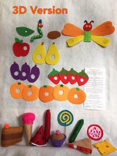 Die kleine Raupe Nimmersatt fühlte Food Set/Filz Board Aktivität Set / Flanell Board/pädagogische/Vorschule/Creative Play/Lehre-Set