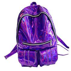 Women backpack 2017 Mochila backpack Women Silver Hologram Laser Backpack men's Bag leather Holographic travel bag  WB373 #Affiliate