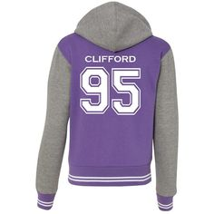 Michael Clifford 5 SOS Varsity Ladies Sweatshirt Jacket ($30) ❤ liked on Polyvore featuring outerwear, jackets, hooded jacket and purple jacket