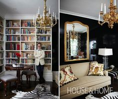 Photo Gallery: Tommy Smythe's Victorian Makeover | House & Home -- Black walls and brass accents are perfect!