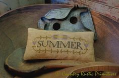 Primitive Summer In Bloom Pillow Tuck Cross Stitch E Pattern PDF New Pattern by countryrustic on Etsy