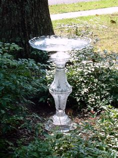 "Vintage glass garden art, bird bath, bird feeder.  ""The Emma"" is made with repurposed glass.  Recycled.  Upcycled art."