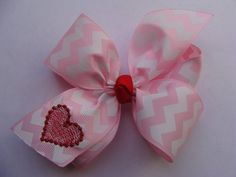 Chevron Hair Bow Valentine's Day Heart by MaciesCustomBowZ on Etsy