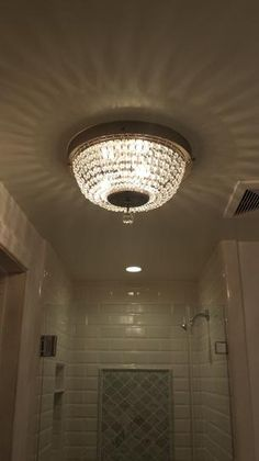 ~NEW~ Hampton Bay Brushed Nickel FlushMount Crystal Accents Ceiling 3 Light