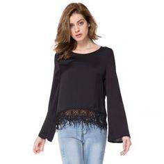 Scoop cuello con estilo de manga larga de la blusa de color sólido Mujeres Laciness para Vender - La Tienda En Online IGOGO.ES