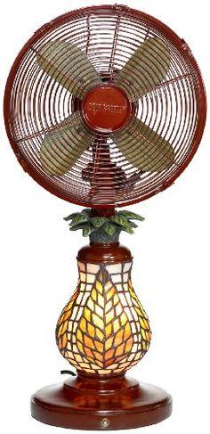 Deco Breeze Mosaic Glass Pineapple Table Top Fan