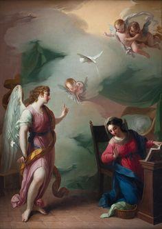 The Annunciation di Giuseppe Velasco Blessed Mother Mary, Blessed Virgin Mary, Catholic Art, Religious Art, Rennaissance Art, San Gabriel, Drawing For Beginners, Learn Art, Madonna And Child