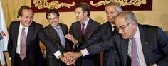 Núñez Feijóo junto a los presidentes de Navantia, SEPI, Barreras y altos cargos de PEMEX | EFE/Óscar Corral