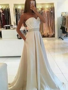 elegant sweetheart prom evening dresses with appliques, fashion formal champagne party gowns, #dresses