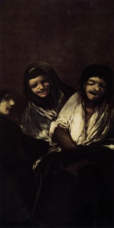 Two Women and a Man. Goya. 1820-1821. Black paintings at Quinta del Sordo. Oil on plaster mounted on canvas. 125 x 66 cm. Museo del Prado. Madrid.