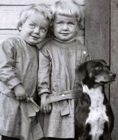 :::::::: Vintage Photograph :::::::: Twin boys and their beloved dog. Ornery or not?  I'd say YES!