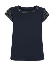 T-shirt bleu marine à manches ornées de perles | New Look