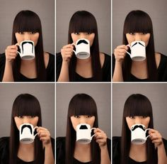 funny mustache coffee mugs - can use a ceramic paint marker to draw on plain white mugs