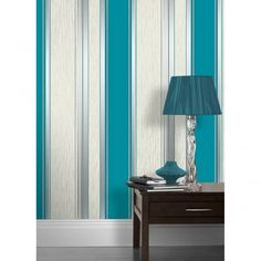 Vymura Synergy Striped Wallpaper Teal / White / Silver (M0801) - Wallpaper from…