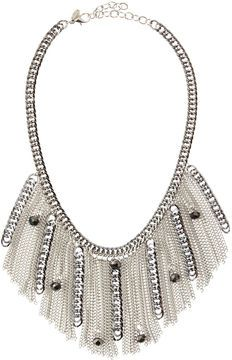Greenbeads Hematite Chain Fringe Necklace